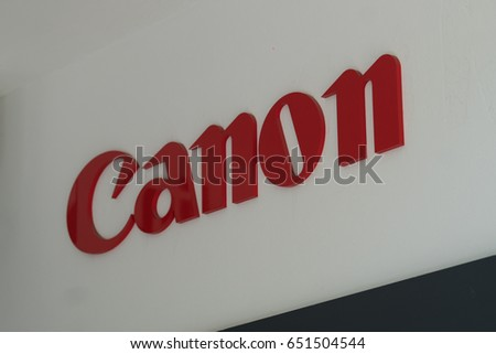 Berlin, Germany - May 19, 2017: Canon shop. That is a Japanese multinational corporation manufacturing imaging and optical products, including cameras, camcorders, photocopiers, computer printers
