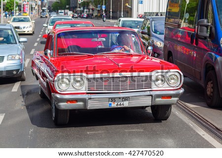 Berlin, Germany - May 14, 2016: classical Chevrolet car in Berlin. Chevrolet also referred to as Chevy is an American automobile division of the American manufacturer General Motors