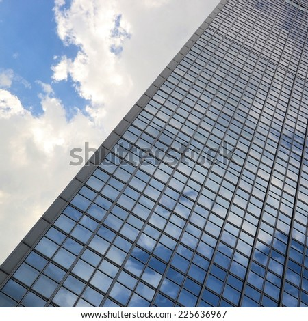 "BERLIN, GERMANY May 17, 2013: Detail of the glass facade of the hotel ""Park Inn"" at Alexanderplatz in Berlin"