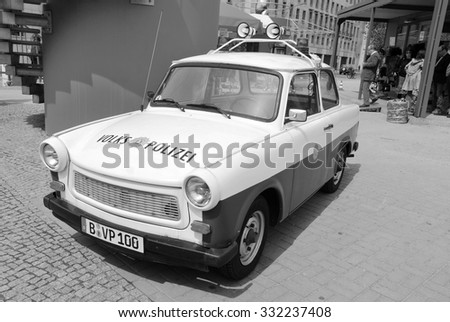 BERLIN - GERMANY MAY 22: Famous Trabant police car in front the GDR musuem on May 22, 2010 in Berlin, Germany. The Trabant is a car that was produced by former East German auto maker VEB in Zwickau. - stock photo