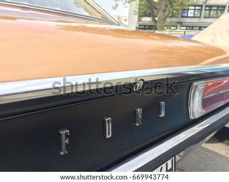 Berlin, Germany - May 13, 2017: Ford Granada car. The European Ford Granada is a large executive car manufactured by Ford Europe from 1972 until 1994
