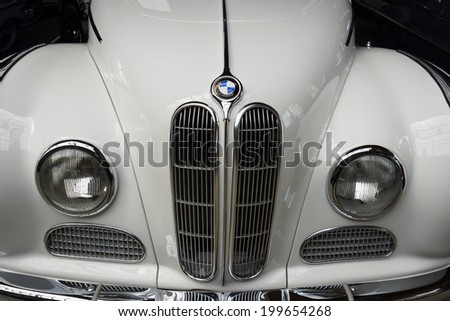 BERLIN, GERMANY - MAY 17, 2014: Front of the full-size luxury car BMW 502 convertible, close-up. 27th Oldtimer Day Berlin - Brandenburg  - stock photo