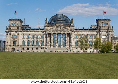 Berlin, Germany - may 2, 2016: Front view of the Reichstag building in Berlin, Germany