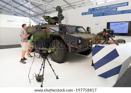 BERLIN, GERMANY - MAY 22: German Army Fennec (Light Armoured Reconnaissance Vehicle) at the International Aerospace Exhibition ILA on May 22nd, 2014 in Berlin, Germany.