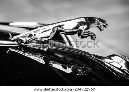 BERLIN, GERMANY - MAY 17, 2014: Hood ornament (Jaguar in the jump) of the Jaguar Mark 2. Black and white. 27th Oldtimer Day Berlin - Brandenburg  - stock photo