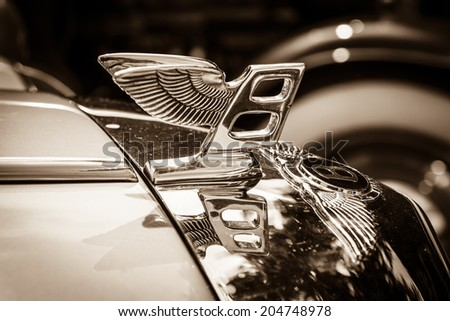 BERLIN, GERMANY - MAY 17, 2014: Hood ornament of the full-size luxury car Bentley T2. Sepia. 27th Oldtimer Day Berlin - Brandenburg  - stock photo