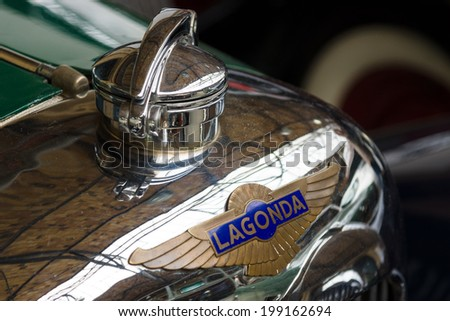 BERLIN, GERMANY - MAY 17, 2014: Hood ornament of the Lagonda M45, SportsSaloon Body by John Charles Ltd (1934). Close up. 27th Oldtimer Day Berlin - Brandenburg  - stock photo