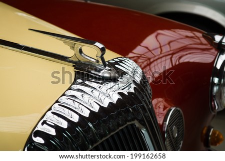 BERLIN, GERMANY - MAY 17, 2014: Hood ornament of the luxury car Daimler Majestic Major V8 (1965). 27th Oldtimer Day Berlin - Brandenburg  - stock photo