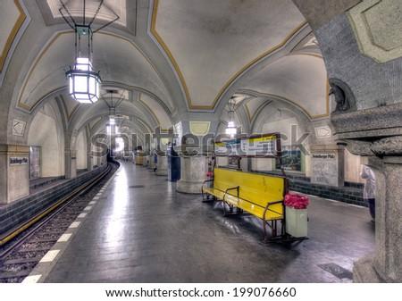 BERLIN, GERMANY - MAY 7 2014: Inside the ornate hundred year old Heidelberger Platz underground station (u-bahn) in Berlin, taken on May 7 2014. - stock photo