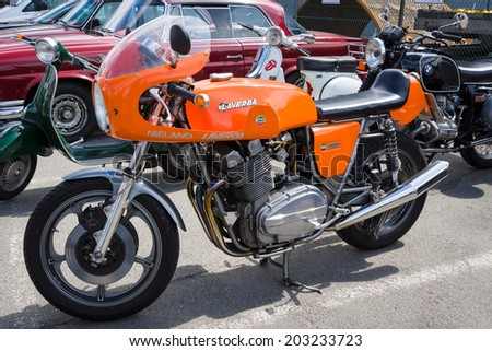 BERLIN, GERMANY - MAY 17, 2014: Italian sport bike Laverda 1000, 1973. 27th Oldtimer Day Berlin - Brandenburg