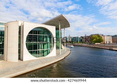 Berlin, Germany - May 14, 2016: Marie-Elisabeth-Lueders-Haus in the government district of Berlin with unidentified people. It is one of the buildings of the German Bundestag - stock photo