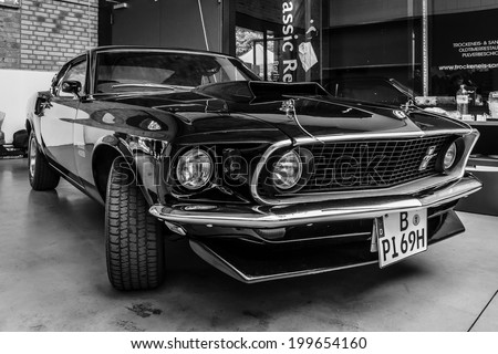 BERLIN, GERMANY - MAY 17, 2014: Muscle car Ford Mustang Boss 429 Fastback (1969). Black and white. 27th Oldtimer Day Berlin - Brandenburg  - stock photo