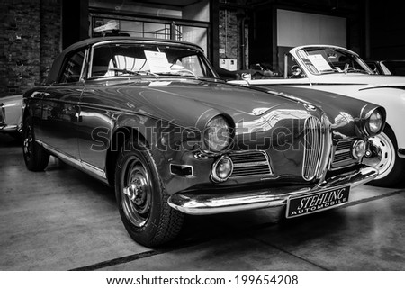 BERLIN, GERMANY - MAY 17, 2014: Oldtimer BMW 503 convertible, black and white. 27th Oldtimer Day Berlin - Brandenburg  - stock photo