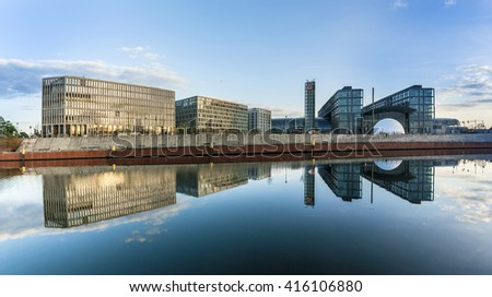 BERLIN, GERMANY - MAY 3, 2015: panoramic view to river Spree and  Berlin's main railway station - Hauptbahnhof. - stock photo