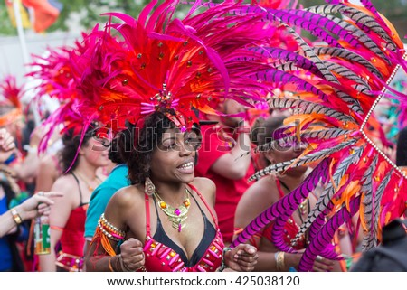 Berlin, Germany may 15, 2016: Portrait of dancing woman in costume on Carnival of Cultures in Berlin, Germany.