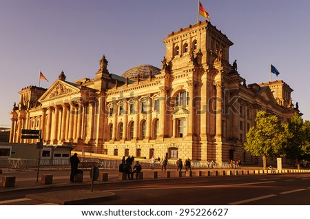 BERLIN, GERMANY - May 15, 2015: Reichstag (German Parlament) on an evening on May15, 2015 in Berlin