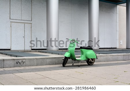 BERLIN, GERMANY - MAY 18, 2015: scooter parked on the roadside in the center of Berlin