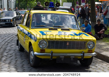 BERLIN, GERMANY - MAY 17, 2014: Soviet car VAZ 2101 in the coloring of the traffic police (GAI). 27th Oldtimer Day Berlin - Brandenburg  - stock photo