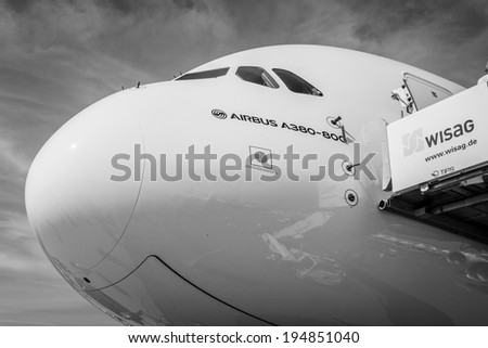 BERLIN, GERMANY - MAY 21, 2014: The cockpit of the largest aircraft in the world - Airbus A380. Black and White. Exhibition ILA Berlin Air Show 2014