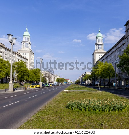 BERLIN, GERMANY - MAY 1, 2015: The Frankfurter Tor (Frankfurt Gate) - is a large square in the inner city Friedrichshain locality of Berlin,  Germany