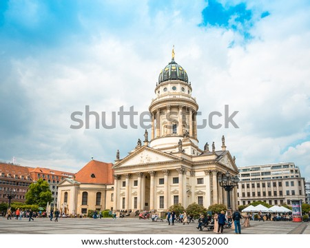 BERLIN, GERMANY- May 18, 2016: The Gendarmenmarkt is a square in Berlin, and the site of the Konzerthaus and the French and German Cathedrals. May 18, 2016 in Berlin