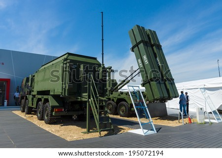 BERLIN, GERMANY - MAY 21, 2014: The MIM-104 Patriot is a surface-to-air missile (SAM) system. German Air Force. Exhibition ILA Berlin Air Show 2014
