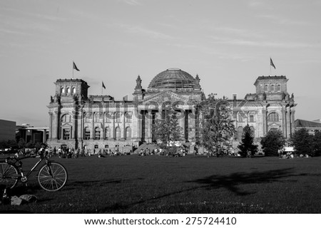 BERLIN, GERMANY - MAY 23, 2012: The Reichstag building in Berlin. The Reichstag building is a historical edifice in Berlin, Germany, constructed to house the Imperial Diet, of the German Empire - stock photo