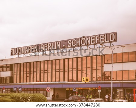 BERLIN, GERMANY - MAY 12, 2014: The Schoenefeld international airport is the second largest Berlin airport after Tegel,flight vintage
