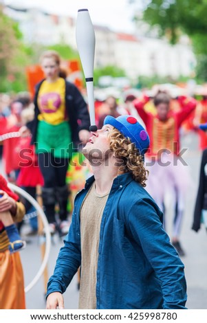 Berlin, Germany - May 15, 2016: unidentified people at the Carnival of Cultures, an annually festival in Berlin. The processions, dance and music events celebrate peace, tolerance and multiculturalism - stock photo