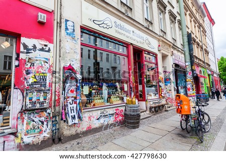 Berlin, Germany - May 17, 2016: unique wine shop in Berlin-Kreuzberg. Kreuzberg has emerged from one of the poorest quarters to one of Berlins cultural centers - stock photo