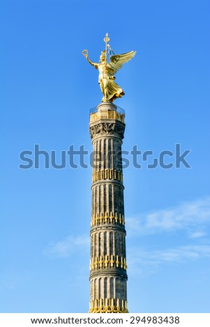 Berlin, Germany, May 25, 2015: Victory Column in Berlin. Author of the project, architect Johann Heinrich Strack. The monument is located in the center of the Tiergarten park on the square Big Star.