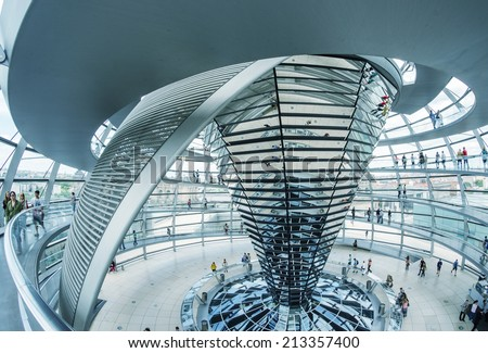 BERLIN, GERMANY - MAY 21 : View of Reichstag dome on May 21, 2012 in Berlin, Germany. The Reichstag dome is a glass dome constructed on top of the rebuilt Reichstag building - stock photo
