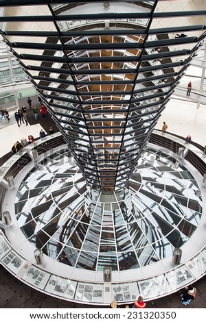BERLIN, GERMANY - MAY 21 : View of Reichstag dome on May 21, 2012 in Berlin, Germany. The Reichstag dome is a glass dome constructed on top of the rebuilt Reichstag building