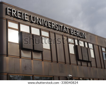 "BERLIN, GERMANY - NOV 09, 2015: Freie Universitaet Berlin (FU Berlin). Entrance area of the so called ""Rostlaube"": One of the main buildings of the University in the (West) Berlin district Dahlem."