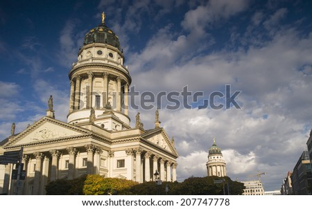 BERLIN, GERMANY - NOV 5: The French cathedral (Franzoesischer Dom) at the Gendarmenmarkt in Berlin, Germany on November 5 2013.