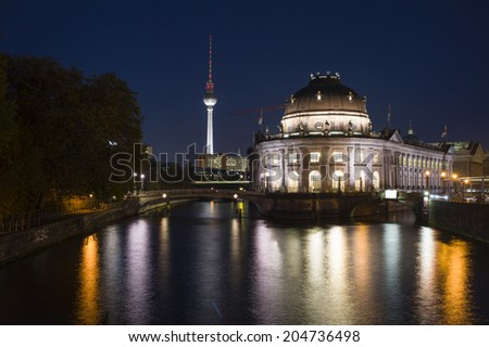 "BERLIN, GERMANY NOV 2: The television tower and the Bode Museum on the museum island (""Museumsinsel "") in the Mitte district of Berlin, Germany on November 2 2013."