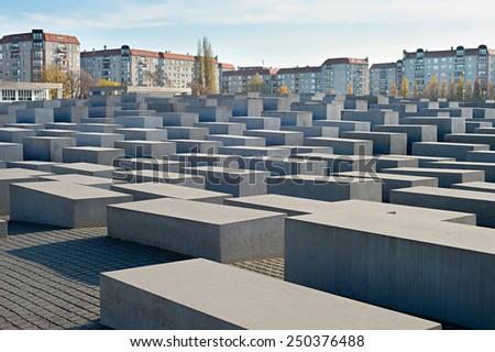 BERLIN, GERMANY - NOV 17, 2014: View of Jewish Holocaust Memorial, Berlin, Germany  - stock photo
