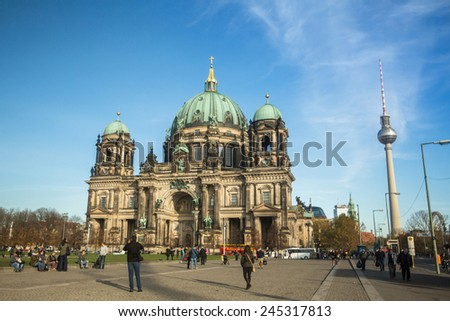 BERLIN, GERMANY - NOV 17, 2014: View of the Berlin Cathedral  (Berliner Dom) is the largest Evangelical Church in Germany. Cathedral was built in 1894-1905 by project Julius Raschdorff.