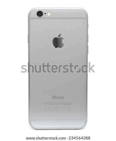 BERLIN, GERMANY - NOVEMBER 30: backside of an new space grey iPhone 6 from Apple on Nov 30 2014 in Berlin - stock photo