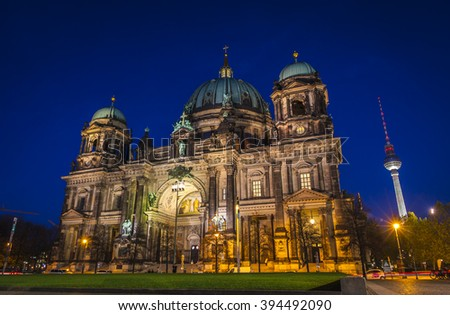 BERLIN, GERMANY - November 11, 2013: Evening view of Berlin Cathedral (Berliner Dom), Berlin, Germany. TV Tower on the background
