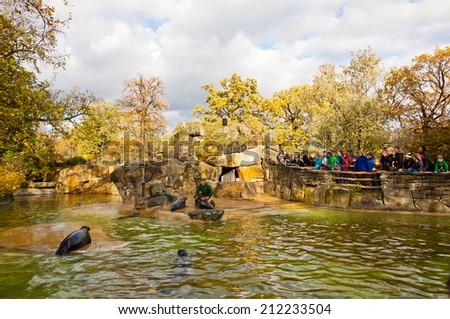 BERLIN, GERMANY - NOVEMBER 9, 2013: Fur seals feeding show at the Berlin Zoo (Zoological garden). It's the oldest garden in Germany with most comprehensive collection of species in the world - stock photo