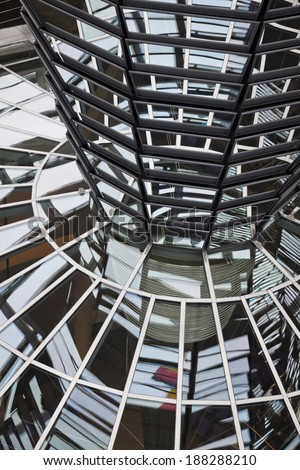 BERLIN, GERMANY - NOVEMBER 10, 2013: Glass Dome on the top of Reichstag (Bundestag) building, designed by architect Norman Foster
