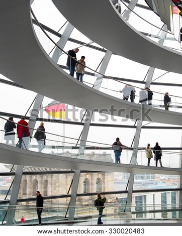 BERLIN, GERMANY - NOVEMBER 15, 2014: People visiting Reichstag dome in Berlin, Germany. The Reichstag dome is a glass dome constructed on top of the rebuilt Reichstag building