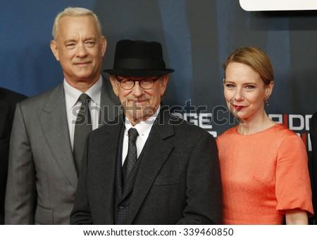 """BERLIN, GERMANY - NOVEMBER 13: Steven Spielberg, Amy Ryan, Tom Hanks attend German premiere of """"Bridge of Spies"""" in ZOO Palast cinema on November 13, 2015 in Berlin, Germany - stock photo"""