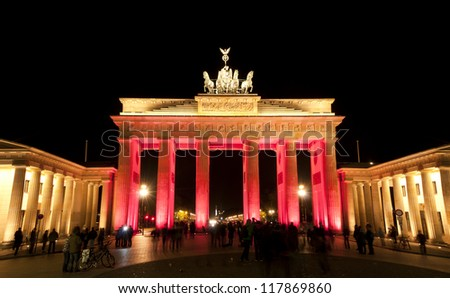BERLIN, GERMANY - OCTOBER 16: artistic colorful illumination of the Brandenburg Gate,, during FESTIVAL OF LIGHTS 2011 in Berlin Mitte, Germany, Europe oct 16 2011