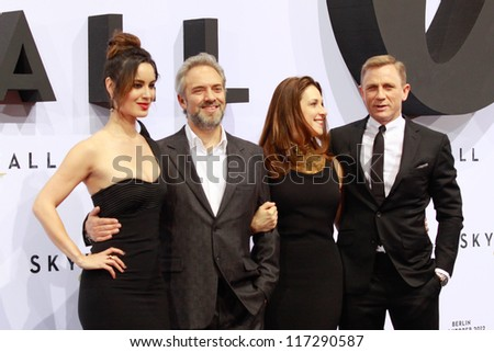 "BERLIN, GERMANY - OCTOBER 30: Berenice Marlohe, Sam Mendes, Barbara Broccoli and Daniel Craig attend the Germany premiere of James Bond 007 movie ""Skyfall"" on October 30, 2012 in Berlin, Germany"