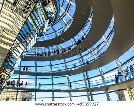 BERLIN, GERMANY - OCTOBER 23, 2010: People visiting the German Parliament aka Reichstag (HDR)