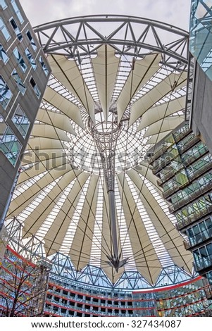 Berlin, Germany - October 28, 2013: Sony Center at the  Potsdamer Platz square - a group of buildings in the district Tiergarten, Berlin-Mitte.