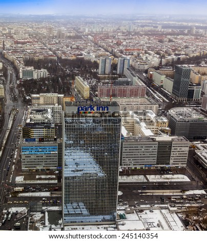 Berlin, Germany, on February 20, 2013. City landscape. Bird's-eye view in the winter cloudy afternoon