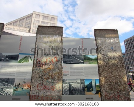 BERLIN, GERMANY - SEP 17: Monument of Berlin Wall at Potsdamer Platz in Berlin, Germany on September 17, 2013. Berlin is the capital and largest city in Germany. - stock photo